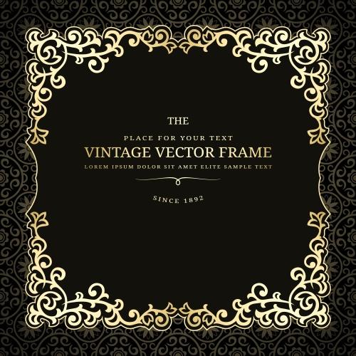 Винтажные элементы для сертификатов на темном фоне / Vintage gold elements for certificate on darc background - vector stock