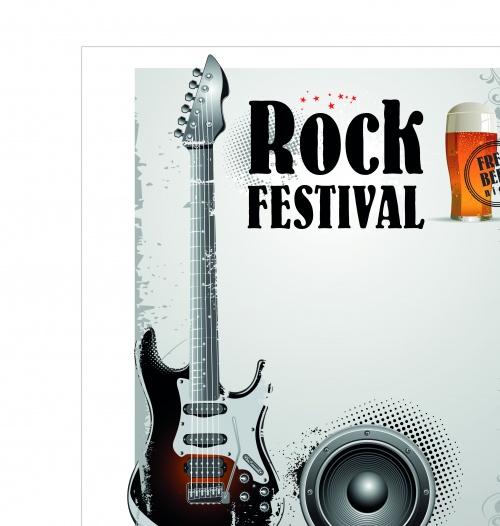 Музыкальные постеры микрофон и гитара | Music poster microphone and guitar vector