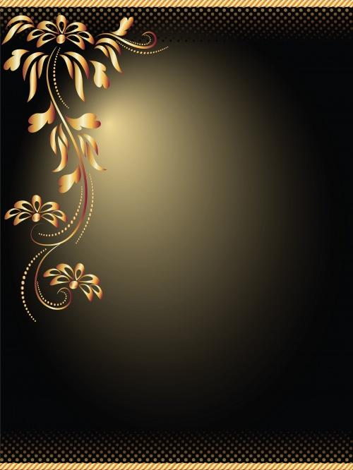 Винтажные цветочные фоны с золотыми элементами в векторе / Vintage floral gold elements in vector