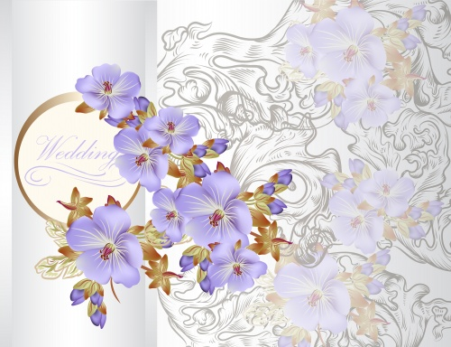 Wedding backgrounds with flowers and butterflies - vector
