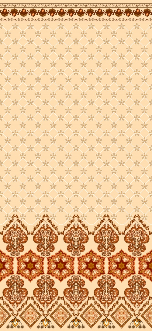 Ethnic patterns with wide bordure