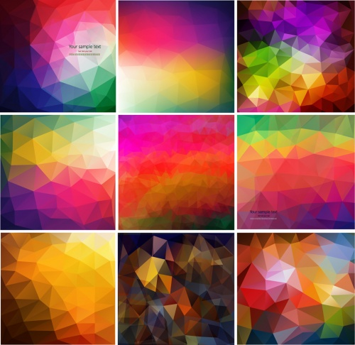 Set of colorful geometric background