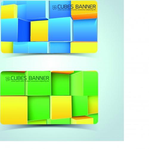Кубики баннеры карточки | Cubes banner card vector