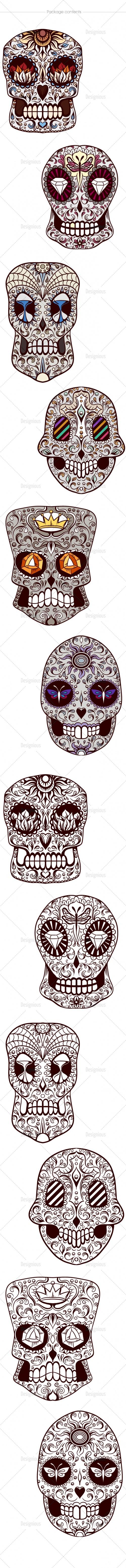 Sugar Skulls Vector Pack 44