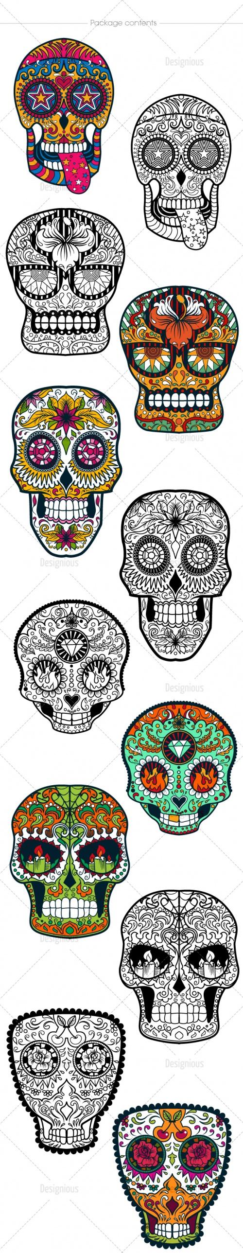 Sugar Skulls Vector Pack 39