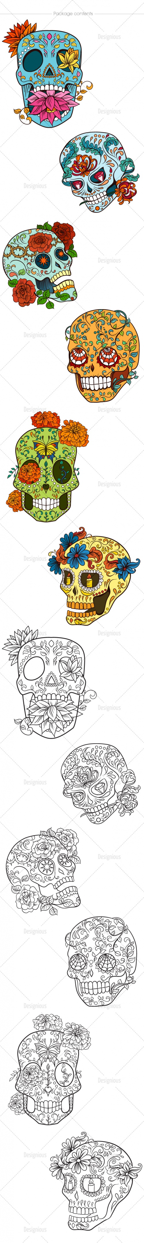 Sugar Skulls Vector Pack 48