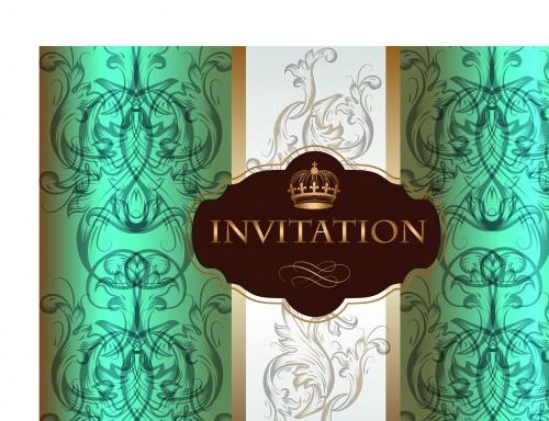 Роскошные свадебные пригласительные   Luxurious wedding invitation card vector