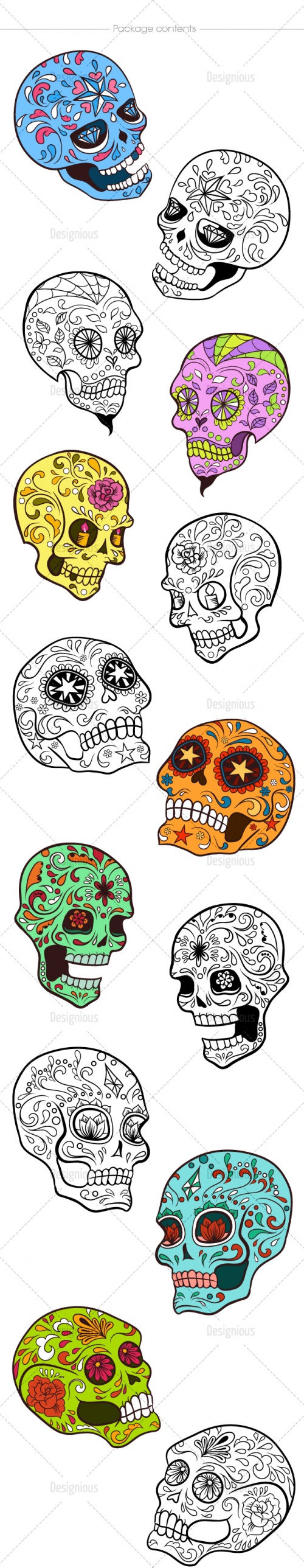 Sugar Skulls Vector Pack 38