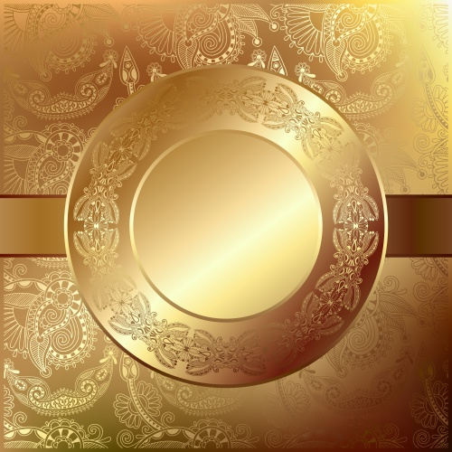 Golden vector backgrounds with beautiful ornaments