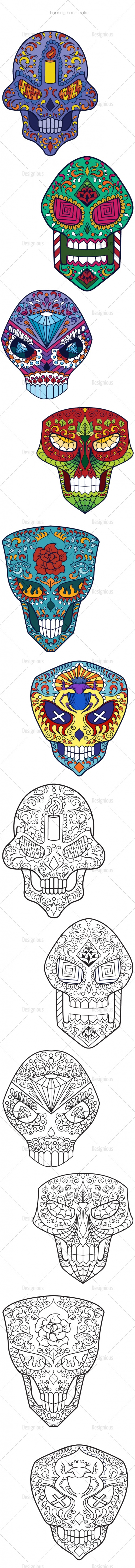 Sugar Skulls Vector Pack 46