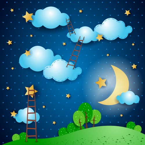 Cute Night Backgrounds Vector