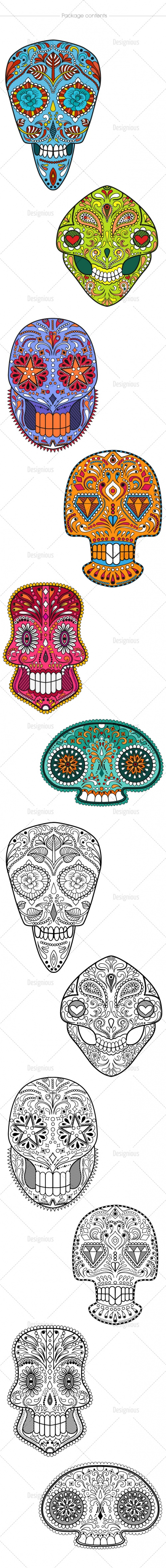 Sugar Skulls Vector Pack 45
