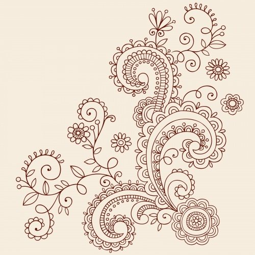 Stock: Ornate Henna Paisley Doodle Vector