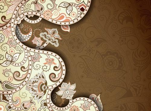 Фоны с разноцветными орнаментами, цветы / Backgrounds with colorful ornaments, flowers - vector clipart