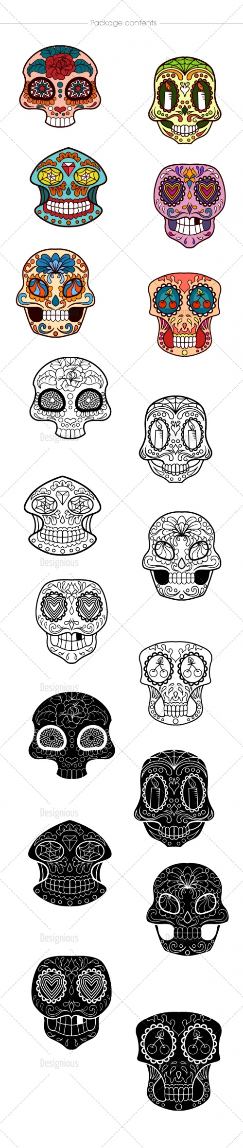 Sugar Skulls Vector Pack 40