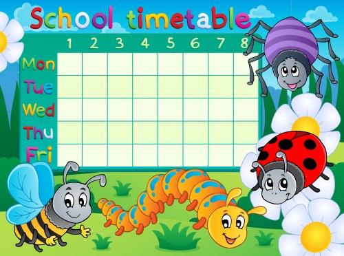 Школьное расписание / School timetable - Vector clipart