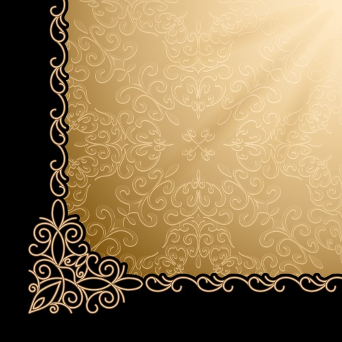 Винтажные фоны с золотыми элементами в векторе, 15 / Vintage background with gold ornament, 15 - vector stock