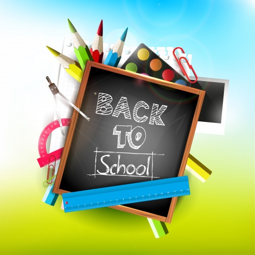 ��������� �������� �������������� / School supplies, pens, books and exercise book - vector