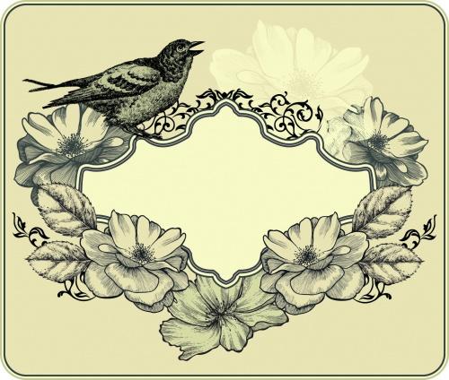 Vintage Floral Cards Vector 3
