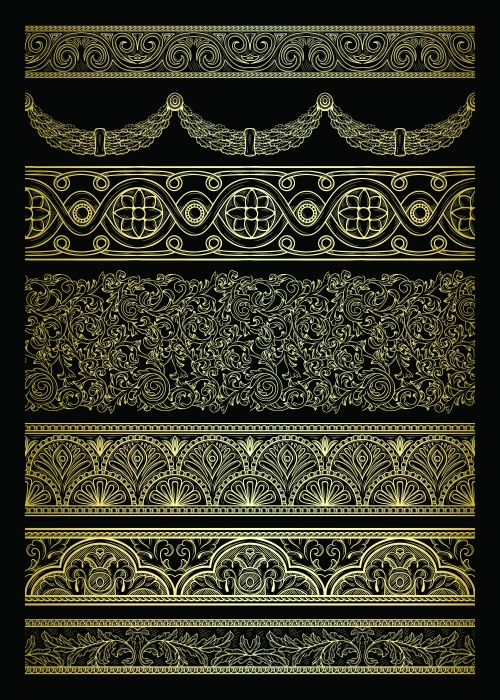 Golden design elements in retro style
