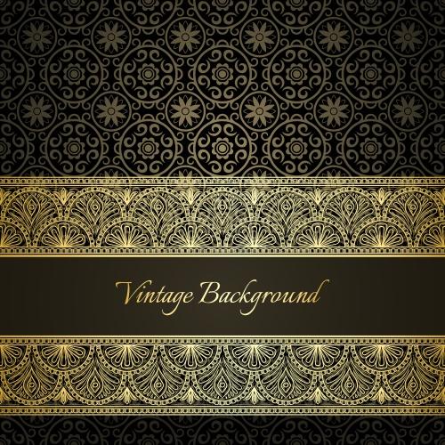 Golden design elements in retro style
