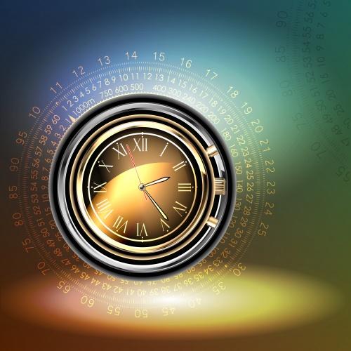Векторные фоны с часами / Clocks background in vector