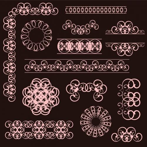 Пригласительный и векторные орнаменты / Invitation and ornament frame in vector