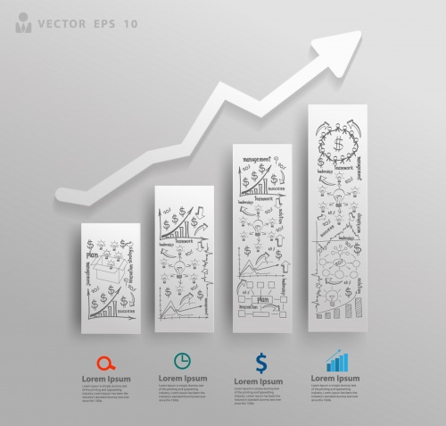 Abstract 3D paper charts and graphs
