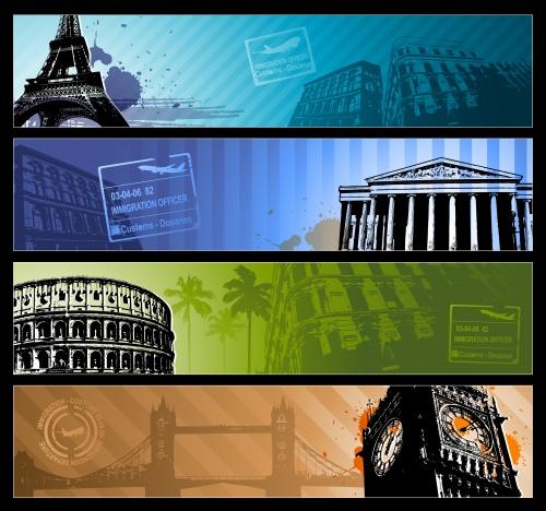 Фоны и элементы путешествий, 10 / Travel background design in vector
