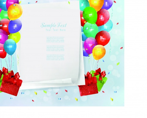 Праздничные векторные фоны с разноцветными шарами | Holiday vector background with colorful balloons and gift boxes