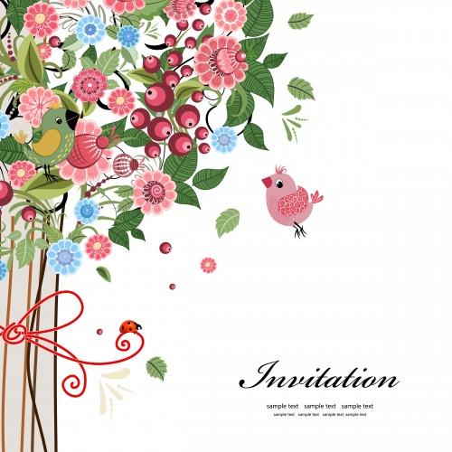 Фоны с яркими цветами для пригласительных / Backgrounds with bright colors for the invitation - vector clipart