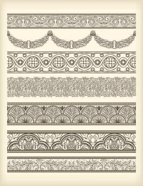 Винтажный набор бордюров для дизайна в векторе / Vintage border set for design - vector stock