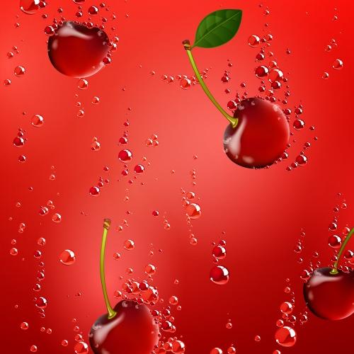 Векторные фоны с фруктами, клубника, вишня, слива, лимон / Vector backgrounds with fruit, strawberry, cherry, plum, lemon