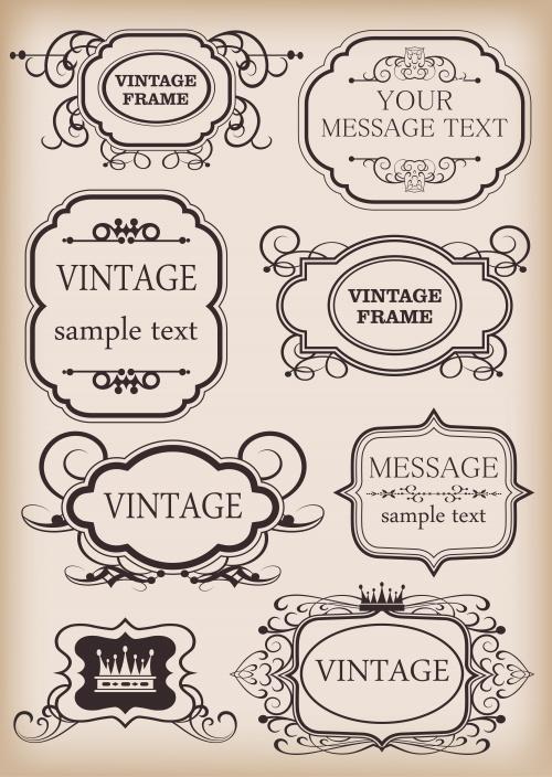 Рамки, бордюры и винтажные орнаменты, 10 / Frame and vintage ornaments, part 10 - vector stock