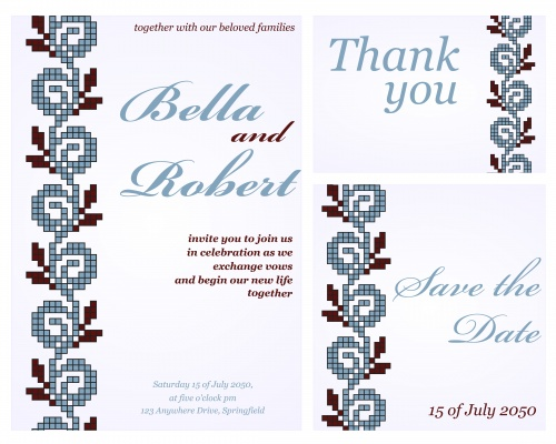 Stock: Set of wedding or invitation card
