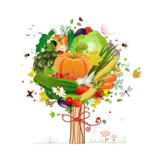 Autumn decorative tree with vegetables