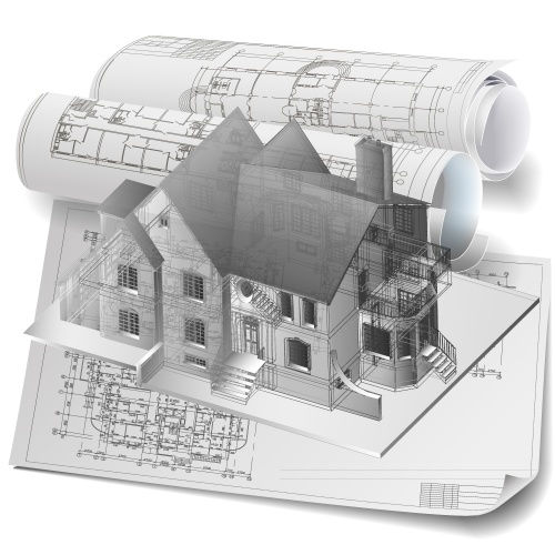 Background with 3D building model