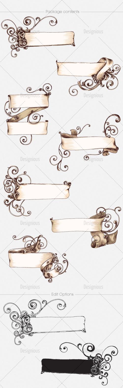 Ornate Scrolls Photoshop Vector Pack 16