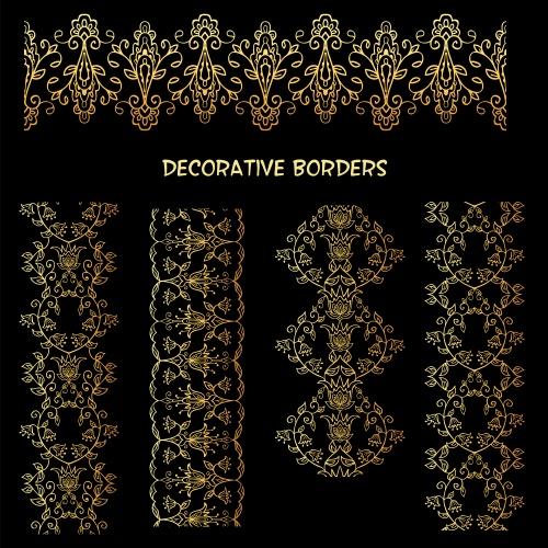 Винтажный алфавит, бордюры и золотой орнамент / Vintage alfabet, borders and gold ornament - vector stock
