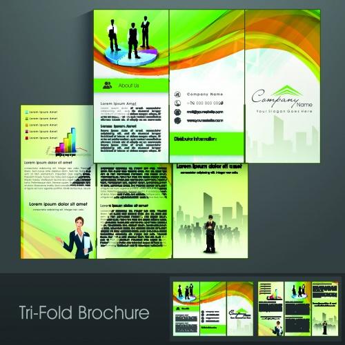 Брошюра из трёх станиц часть 38 | Tri fold business brochure vector set 38