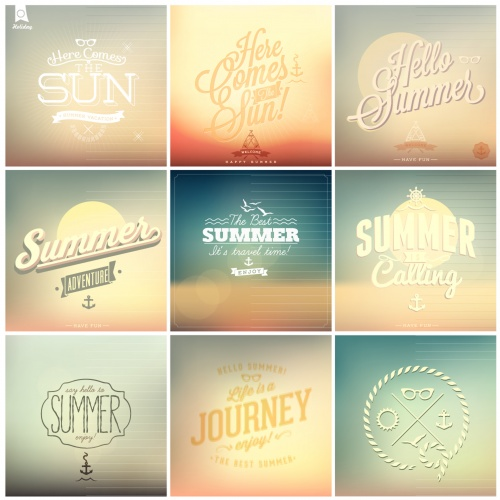 Retro summer background and elements design