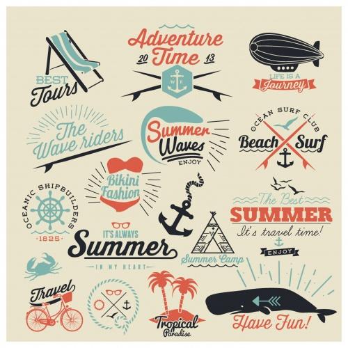 Retro summer background and elements design