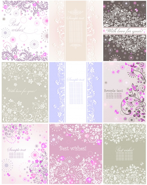 Pastel floral greeting cards