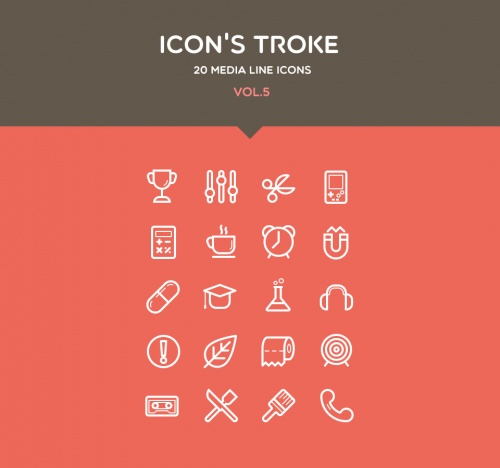 Pixeden - Flat Stroke Line Icons Set Vol5