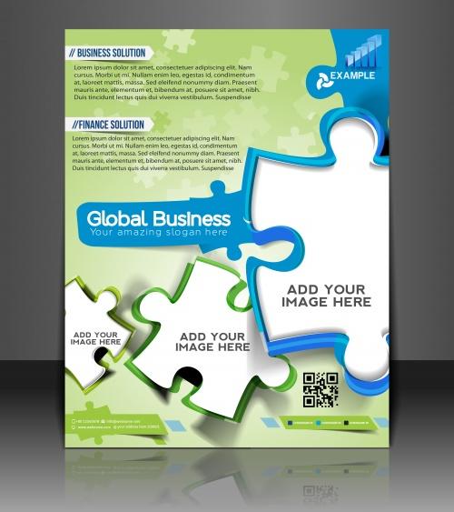 Векторные бизнес брошюры / Vector puzzle business brochure, flyer - vector stock