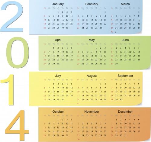 Календари на 2014 год, часть 4 / Calendars 2014, part 4 - vector stock