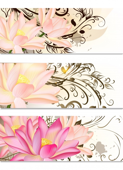 Abstract banners with flowers