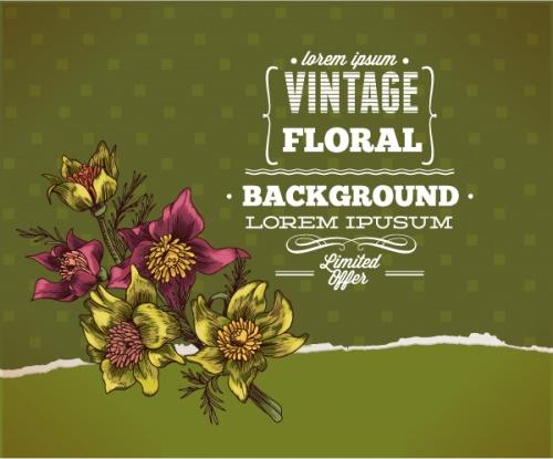 50 Vintage Floral Vector Illustrations