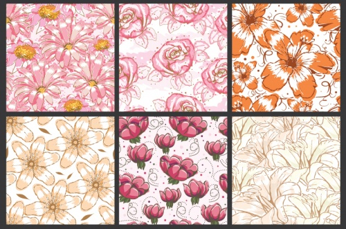 Seamless Vector Patterns Floral Watercolor Set 66
