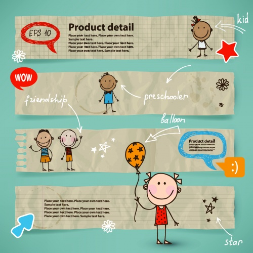 Cute Kids Banners Vector